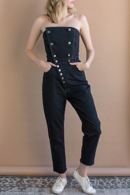 Marissa Webb Myles Strapless Denim Jumpsuit - Overdyed Black