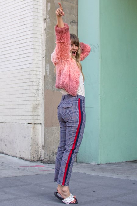 Mother Denim The Shaker Prep Fray Jeans - Pink/Navy