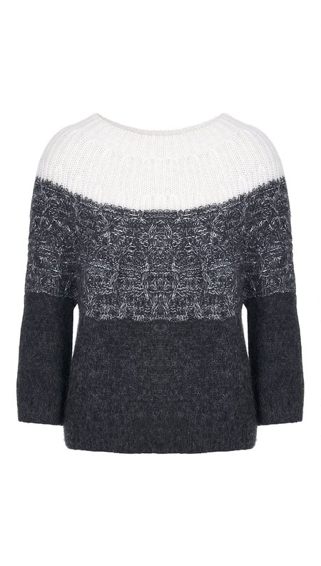 Charli Olli Ombre Cable Sweater - Dark Grey/Ivory Ombre
