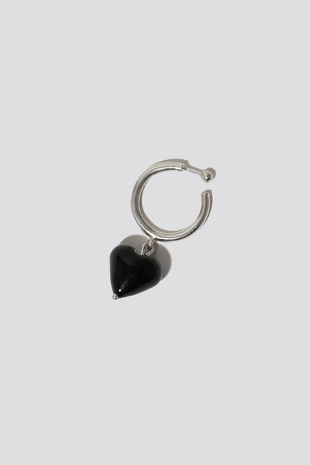 Alexa De La Cruz Heart Drop Hoop Earrings - Black