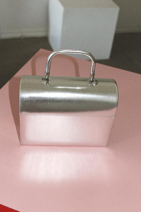 Las Cruxes Vintage Cuca Structured Case Purse/Shoulder Bag - Silver Metallic