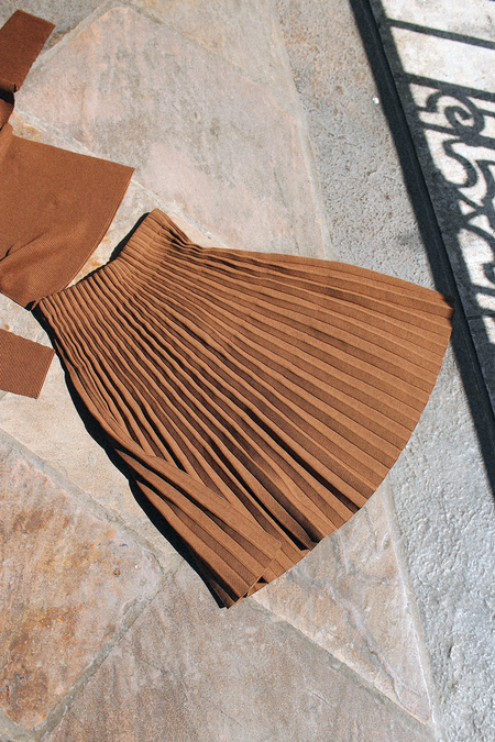 Issey Miyake Cauliflower Garment Knit Skirt - Beige Brown