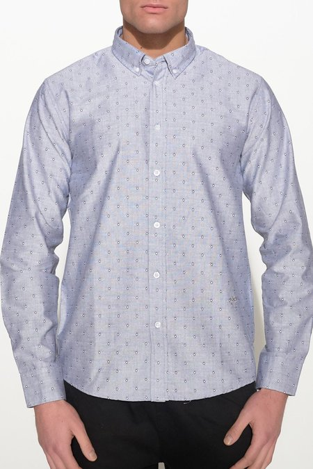 Soulland GOLDSMITH OXFORD SHIRT - GREY WITH DOTS