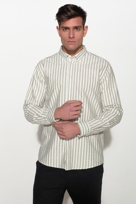 Soulland GOLDSMITH OXFORD SHIRT - WHITE/GREY