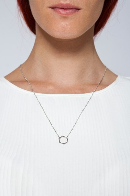 MOUTSATSOS LONG SILVER GEOMETRY NECKLACE WITH SILVER MOTIF