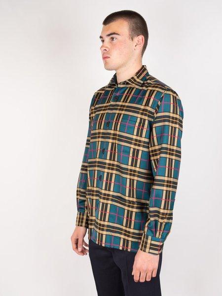 Schnayderman's Large Check Overshirt Virgin Wool - Mustard/Green