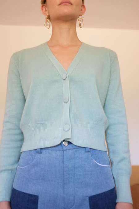 Beklina Cashmere Cardigan Sweater - Mint