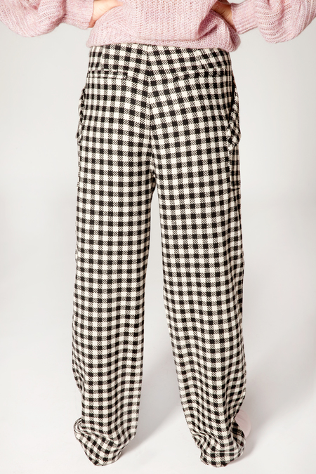 Maison Scotch Checked Wide Legs Trousers - Black/White
