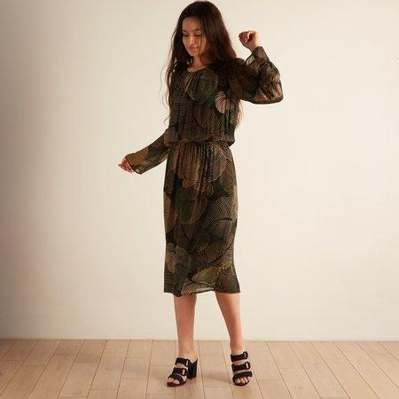 Hartford Tropical Leaves Roussel Dress - Green