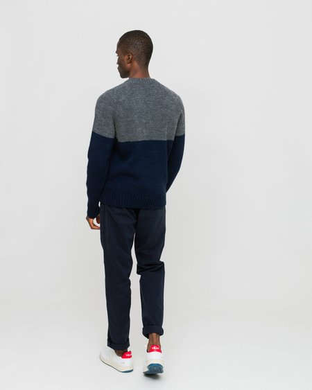 Edmmond Studios Colour Block Sweater - Grey/Navy