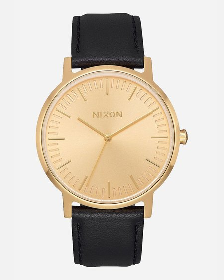 Nixon Porter Leather 40mm Watch - All Gold/Black