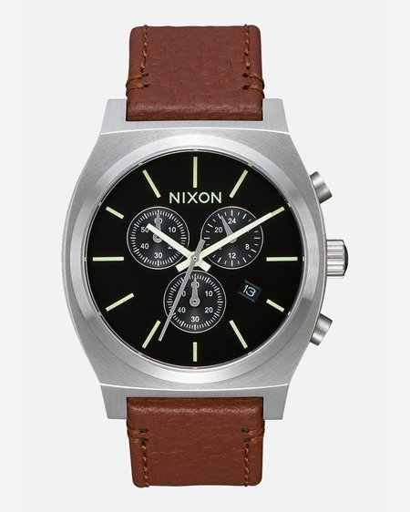 Nixon Time Teller Chrono Leather Watch - Black/Saddle