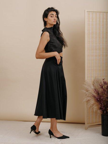 Wolcott : Takemoto Shadow Skirt - Black Wool
