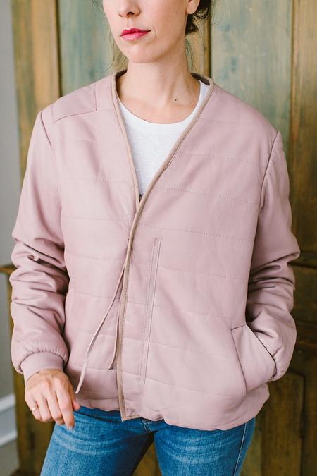 Humanoid Leather Bomber Jacket - Pink