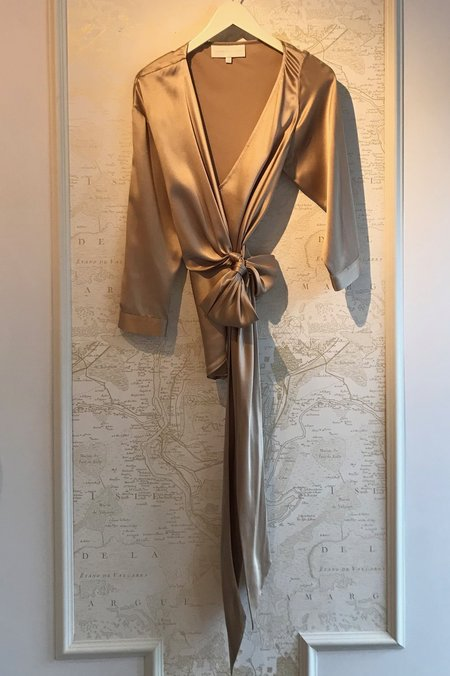 Michelle Mason Asymmetric Silk Charmeuse Wrap Top