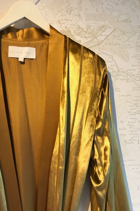 Michelle Mason Velvet Striped Robe With Slits