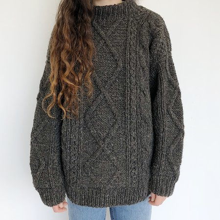 Johan Vintage Mockneck Thick Wool Sweater - Charcoal