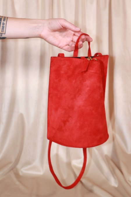 The Common Knowledge Suede Pinch Bag - Red