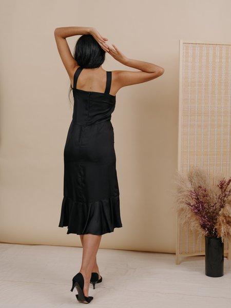 Wolcott : Takemoto Flo Silk Dress - Black