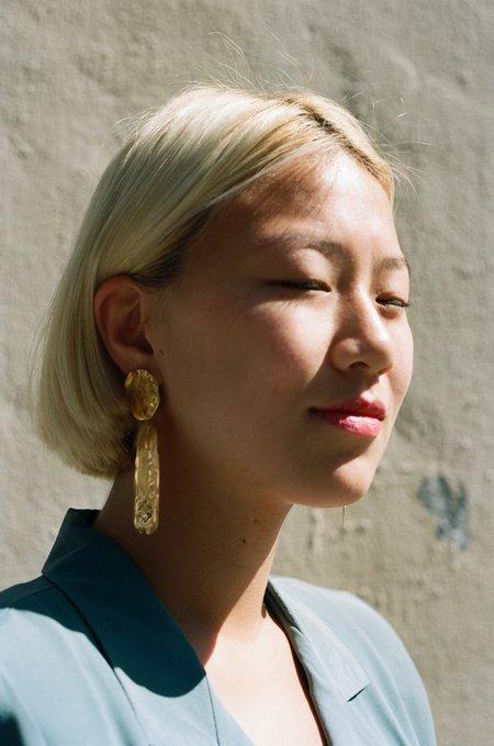 Victoria Mingot Double Drop Earrings - Gold