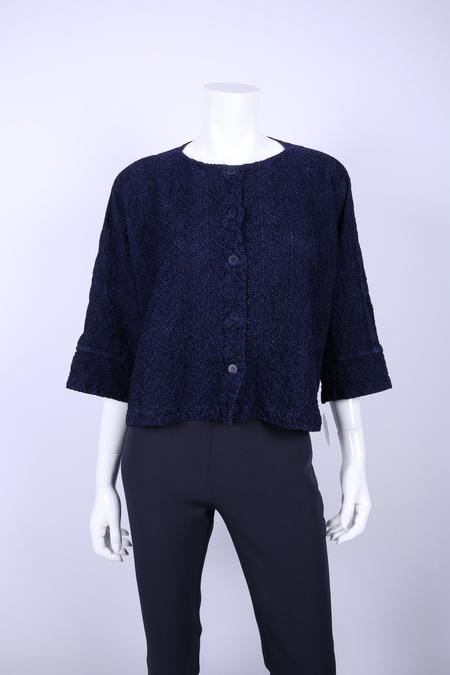 Issey Miyake herringbone button cardigan jacket - Navy