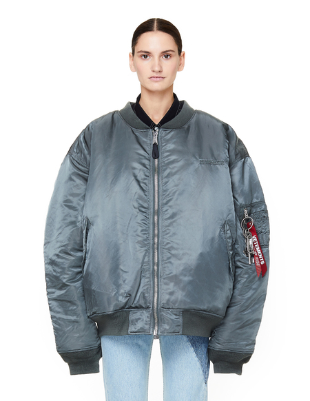 Unisex Vetements Reversible Bomber Jacket  - Silver/Green