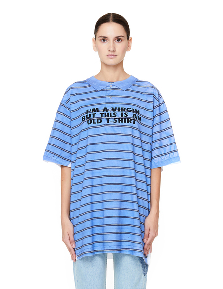 Unisex Vetements Screwed Printed Cotton T-shirt - Navy Blue/Pink