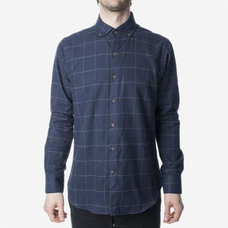 Men's 18 Waits The Windsor Shirt - Navy Windowpane Flannel