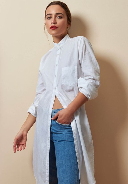 Studio One Eighty Nine Kneelength Cotton Long Sleeve Shirt - White