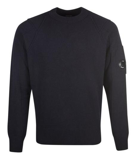 CP Company Crew Neck Lambswool Knit - Navy
