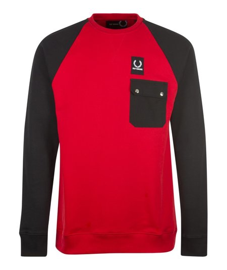 Fred Perry x Raf Simons Colour Block Sweat - Red