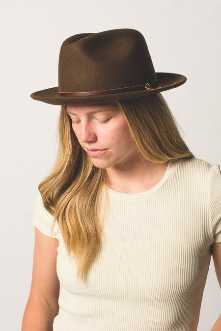 Unisex Yellow 108 Luke Fedora - Brown