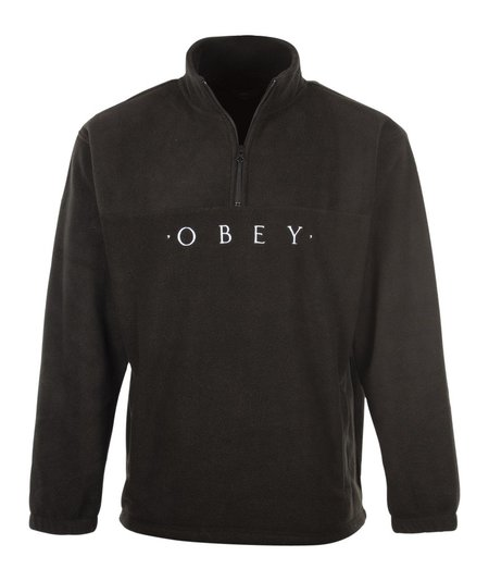 Obey Mountain Mock Zip Sweat - Black