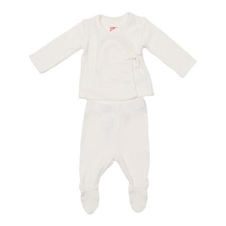 KIDS Bonton Baby Two Piece Set Newborn Long Sleeved Shirt And Leggings - Off White