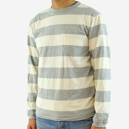 Velva Sheen Wide Stripe L/S Pocket T-shirt - Oatmeal/Heather Grey