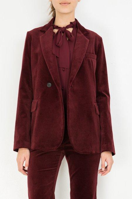Nili Lotan Classon Jacket - Burgundy Velvet