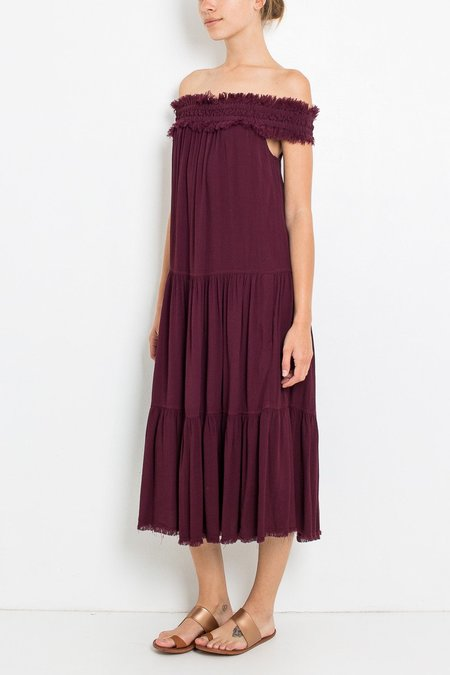 Raquel Allegra Crepe Off Shoulder Dress - Plum