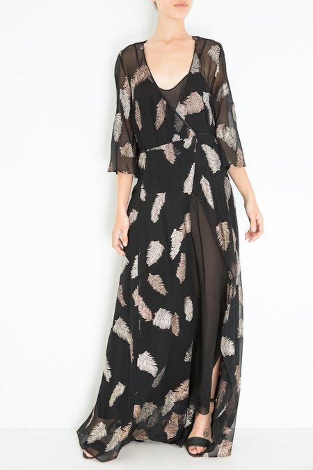 Giada Forte Desert Leaf Print Dress - Nero