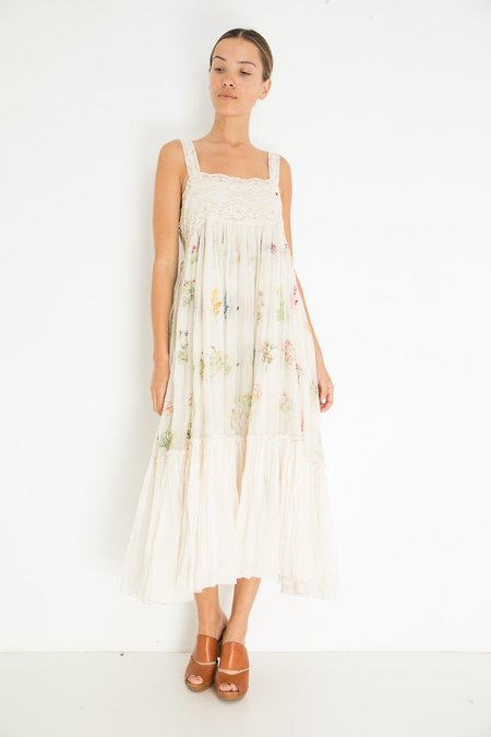 Pero Flower Embroidered Dress - Ivory