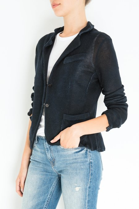Avant Toi Knitted Short Blazer - Navy
