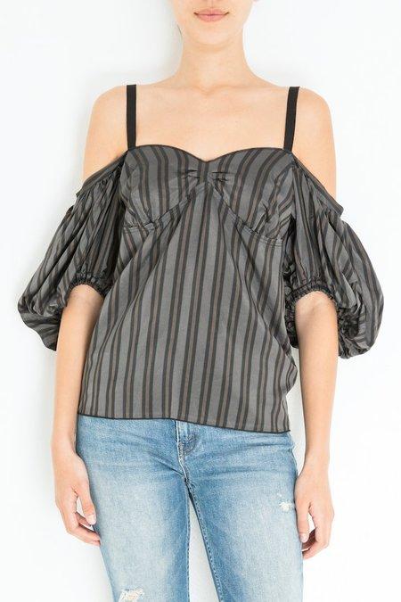 Hache Off Shoulder Shirt - Stripe