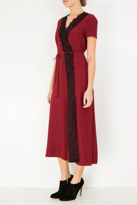 Jenni Kayne Silk Lace Wrap Dress - Red