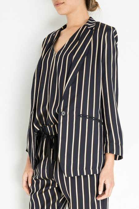 Giada Forte Viscose Stripe Jacket - Notte