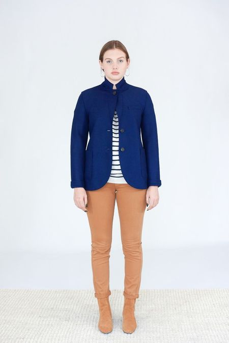 Harris Wharf London Pressed Wool Boyfriend Blazer - Blue Ink