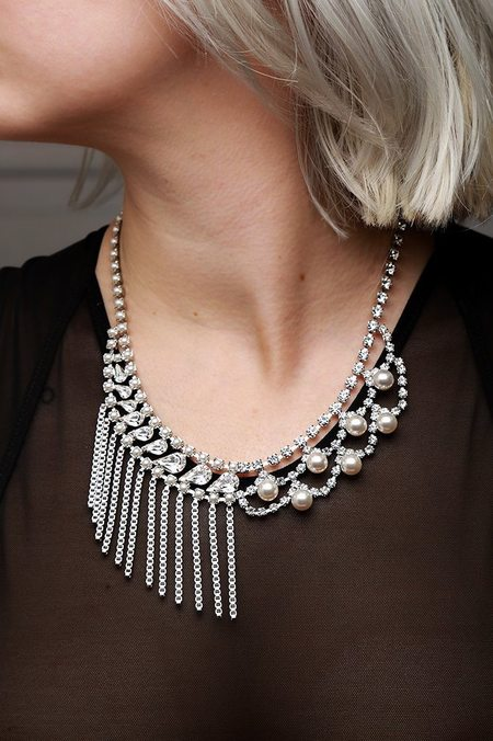 Joomi Lim Necklace with Chain Fringe - Crystal/Pearl