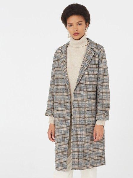 Nice Things Checked Coat - Grey
