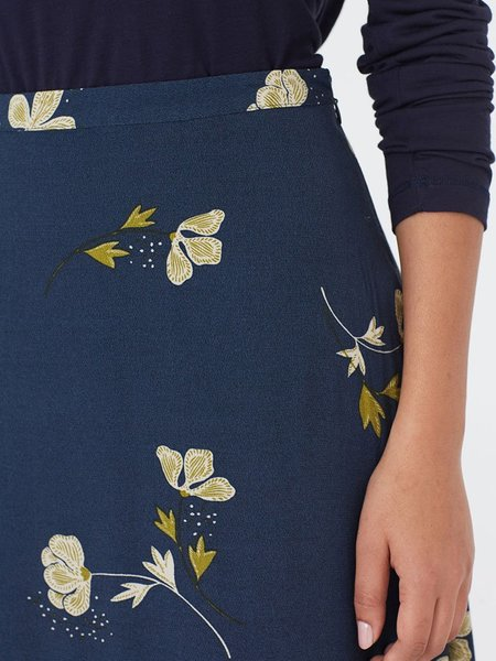 Nice Things Poppies Skirt - Navy