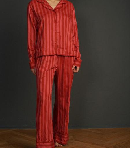 UNDERPROTECTION Amanda Lyocell Satin Pants - Red/Pink Stripes