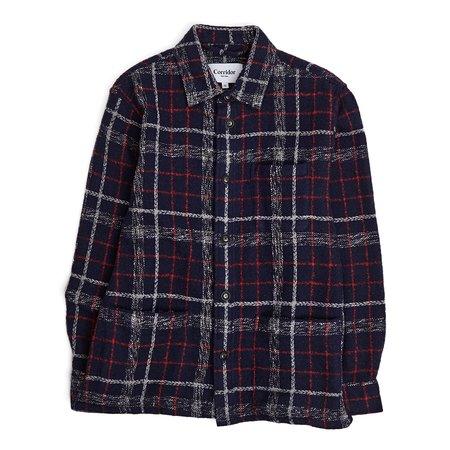 Corridor Plaid Wool Overshirt - Navy Red
