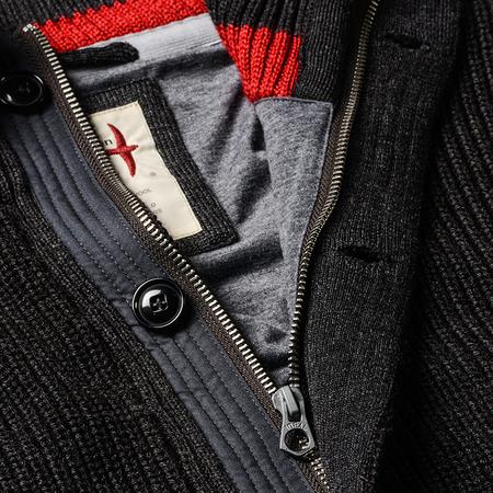 Relwen Wool Deck Zip Cardigan - Brown/Charcoal